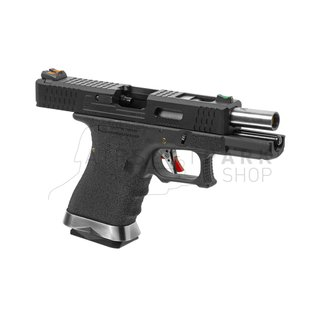WE19 Custom BK Silver Barrel Metal Version GBB Black